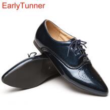 Новая модель женские туфли оксфорды из лакированной кожи цвета черный синий белый Низкий каблук большие размеры 32 43 10 ASP51–5-in Женская обувь без каблука from Обувь on Aliexpress.com | Alibaba Group EarlyTunner 32330855542