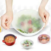 3 шт. силиконовые ленты крышка для сохранения свежести продуктов кухонные крышки для чаш хранения кухонной посуды набор столовых приборов No name 32838912769