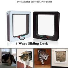 ПЭТ продукта Intelligent доступа Управление 4Way блокировки Indoor/открытый двери комплект кошка собака дверь клапаном настенное крепление Pet Двери для домашних животных безопасно No name 32865983575