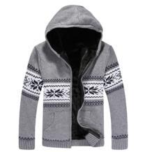 Зимние Chriatmas свитера мужчин толстый свитер на молнии одноцветное пальто вязать кардиган Мужская Верхняя одежда флисовая куртка теплая No name 32830194430