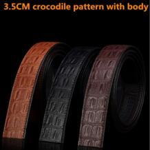 Для мужчин Аллигатор Корова кожаный пояс Ретро ремень из кожи крокодила картины для мужчин Для мужчин бизнес полосы натуральная кожа 3,5 см LAUWOO 32694633147