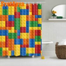 Красочные блоки лего занавески водонепроницаемые шторы для ванной комнаты полиэстер 180x180 см украшение с крючками SVETANYA 32799324679