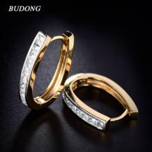 мода большой обруч серьги для Для женщин серебро/золото-Цвет принцессы Кристалл кубического циркония свадебные Huggie Jewelry XUE100 BUDONG 32324065770