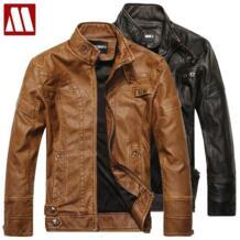 Jaqueta Couro Masculino мужская куртка из искусственной кожи с меховой подкладкой, воротник-стойка, мотоциклетная кожаная куртка на молнии, мужская куртка S-XXXL No name 598186566
