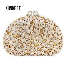 Новейший цветок вечерняя сумочка с кристаллами Золотые камни горный хрусталь клатч вечерняя сумочка женская вечеринка кошелек свадебная сумочка-клатч SC532 KHNMEET 32801429111
