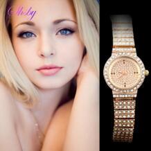 Shsby новые женские роскошные цвета розового золота полный горный хрусталь skysat Смотреть Женщины платье часы дамы Модные подарки No name 1484480567