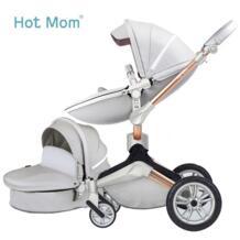 Hotmom Детская коляска эко-кожи 2 в 1 легкий вес четыре амортизаторы России Бесплатная доставка Hot Mom 32840937266