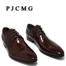 /Туфли-оксфорды винно-красные/черные мужские деловые модельные туфли на шнуровке мужские свадебные туфли из натуральной кожи с острым носком pjcmg 32694740911