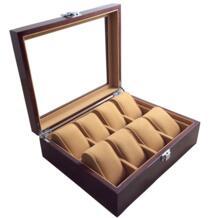8 сетки элегантный прочный темно-красный деревянные часы Дисплей коробка Часы случае оконный ювелирных изделий хранения держатель Организатор Бесплатная доставка AMST 32797282956