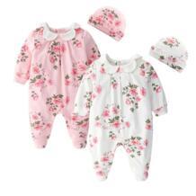 Одежда принцессы для новорожденных девочек с цветочным принтом, комбинезоны с длинными рукавами и шапочки, комплекты одежды для девочек, боди No name 32962800442