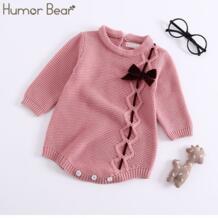 Baby/модель 2019 года; сезон осень-зима; Детский комбинезон; накидка в горошек с воротником в виде листьев лотоса; вязаная одежда для малышей Humor Bear 32876980882