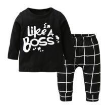 Новая одежда для маленьких мальчиков, футболка с длинными рукавами и буквенным принтом + штаны, комплект из 2 предметов для малышей, комплекты одежды для новорожденных мальчиков HAOLINGFAN 32757603500