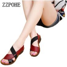 /Новые летние женские взрослые сандалии с мягкой подошвой модные удобные сандалии для мамы кожаные женские туфли большого размера 40 ZZPOHE 32619935252