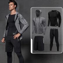 4 шт. для мужчин костюм сжатия набор для фитнеса Дышащие Короткие футболка с длинным рукавом широкие брюки серый черный костюм для ifrich 32845260538