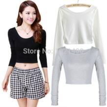 Модные женские вырез crooped топы; футболка с длинным рукавом Клубная одежда укороченный топ COCKCON 32236951253
