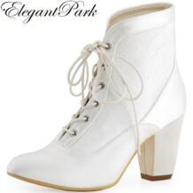 Женские зимние ботинки Свадебная обувь на массивном каблуке, белое, цвета слоновой кости кружево, острый носок, атласные женские туфли-лодочки подружки невесты HC1528 elegantpark 32667348153
