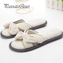 Pasoataques хлопчатобумажная женская обувь с бантом летняя дышащая обувь для загородного дома домашние весенние тапочки бренд Asspfct057 No name 32784797631