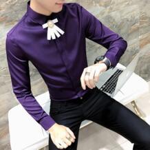 Высокое качество Весна 2019 Новая мужская рубашка Модная приталенная рубашка-смокинг мужская с длинным рукавом Ночной клуб певица костюм рубашка мужская MOTUWETHFR 32846950055