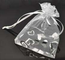 """белое сердце органза свадебные подарочные сумки мешки 9x12 см (3-1/2 """"x4-3/4""""), 100 шт (B16934), yiwu DoreenBeads 1711440759"""