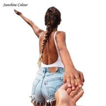 2017 95% хлопок Super Sexy спинки Корректирующие боди для женщин белый/черный рукавов Комбинезоны для малышек женщин бинты комбинезон Комбинезоны для девочек Macacao Feminino No name 32696052000