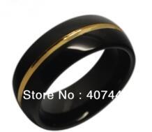 10 шт./лот оптовая продажа бесплатная доставка США Лидер продаж 8 мм мужские черные и новый золотой два тона Вольфрам кольцо обручальное кольцо размеры США 7-13 No name 1397215915