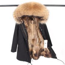 Парка меховое пальто 2018 Длинная зимняя куртка женская большой натуральный мех воротник натуральный мех енота толстый теплый мех парка на меху верхняя одежда Furlove 32794477401