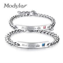 Mostyle 2018 новые ее королевские браслеты его королева Пара Браслеты с камнями из Кубического циркония для парня девушки свадебные украшения Прямая доставка Modyle 32854416700