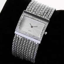 Последние Кварцевые женские серебряные тон Группа горный хрусталь браслет часы 6T4T 93XB BLUELANS 32610617618