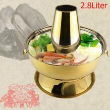 SANQIA 2.8l нержавеющая сталь золотой уголь hotpot трения блюдо монгольский ягненка Пекин традиционный hotpot плита Пикник No name 32610288243