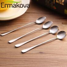 Ермакова 12 шт./лот Кофе ложка с длинной ручкой Нержавеющаясталь ложка для мороженого Чай ложка, чайная ложка коктейльное ложка для смешивания Ermakova 32862950418