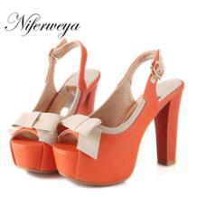 Горячая распродажа! Большие Размеры 30-52 модная симпатичного стиля женская обувь ультра Обувь на высоком каблуке с бантом для отдыха открытым Босоножки с открытым носком hqw-888 No name 32250593247
