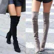 Популярные женские зимние каблук загрузки Для женщин женские замшевые сапоги выше колена на высоком блочном каблуке ботинки на шнурках Favolook 32796975854