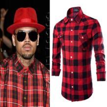 Хип-хоп мужские рубашки в клетку с длинным рукавом рубашки человек Extended красный и черный плед Повседневное рубашка мужская Camisa masculina neverfunction 32629699303