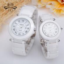Женский Человек повседневное часы календари 2017 бренд Роскошные пара для мужчин женщин Керамика наручные часы Мода кварц водонепроница R·GENS 32792876005