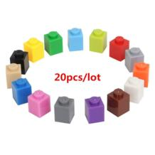 20 шт./лот 1*1 DIY строительные блоки толстые кирпичи, совместимые с Legoe обучающая игрушка многоцветный подарок для детей No name 32914998533
