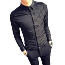 Брендовые повседневные мужские вечерние рубашки с длинным рукавом, хлопковая одежда, белые и черные однотонные рубашки с вышивкой, мужская одежда Zeeshant 32891398721