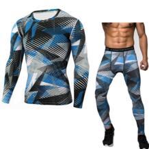 Crossfit компрессионная Рубашка MMA rashgard union костюм 2018 Мужская футболка с длинным рукавом + колготки для мужчин комплект брюки фитнес одежда Day south valley 32839232611