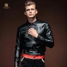 Бесплатная доставка Новая модная повседневная мужская мужской с длинными рукавами зимние кожаные блузка теплый плотный бархат вышивка 14291 FANZHUAN 1501885846