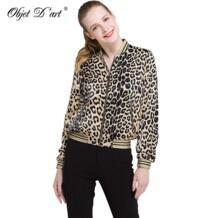 Женская леопардовая куртка-бомбер короткое пальто с длинными рукавами летная куртка повседневные пальто два кармана женская верхняя одежда в стиле панк feminina casacos OBJET D'ART 2053342338
