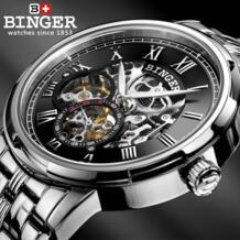 Механические роскошные часы с костями Бингер автоматические часы Relogio мужские часы мужские Relojes 3ATM ремешок из нержавеющей стали 32343581738