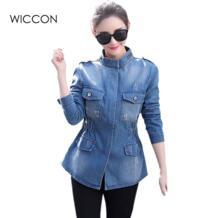 Осень 2019, новинка, Женские винтажные джинсовые куртки с карманами на молнии, повседневные джинсы, модное пальто скинни, большие размеры 5xl, женские топы WICCON 32555300110
