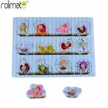 Rolimate Делюкс классический деревянный насекомых Животные головоломки Форма игрушки, подарки на день рождения игрушка для малыша МУЛЬТИЦВЕТ распродажа No name 32864070125