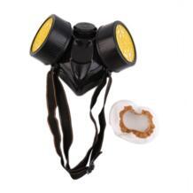 Черный ПВХ противогаз аварийного выживания безопасности дыхательного газа маска против пыли Краски Респиратор маска с 2 двойной защитный фильтр No name 32860416148