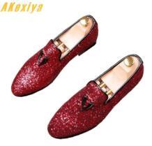 Для мужчин Брендовая Дизайнерская обувь моды блестками кисточкой скольжения-на золото повседневная обувь мужские выпускников свадебное платье выпускного вечера Sapato Social Akexiya 32812042050