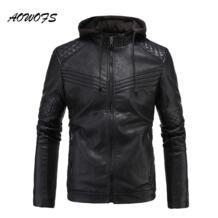 2017 для мужчин S кожаные куртки с капюшоном slim fit бархатные куртки стеганые мотоциклетные S куртки и пальто для будущих мам AOWOFS 32826616464