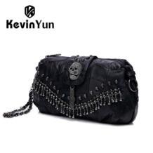 Kevin Yun женщин Способа неподдельной кожи сумки черепа мешок овчины мешок панк женщин сумки посыльного небольшой мешок плеча No name 1607315695