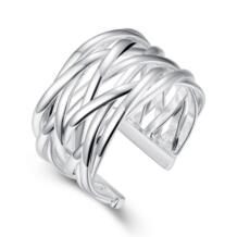 Dames zilveren кольцо серебряное покрытием Для мужчин кольцо обручальное Анель masculino чистая ткет крест Bijoux открытие палец кольца No name 574815937