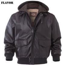 Вкус Для мужчин из натуральной кожи Курточка бомбер Для мужчин овчины натуральной кожи куртка пилота ВВС Съемный капюшон Теплый Авиатор пальто FLAVOR 32900023046