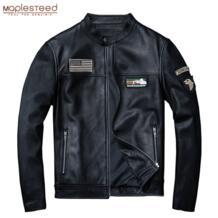 мягкие тонкие кожаные куртки Для мужчин натуральной кожи куртка 100% натуральной кожи Slim Для мужчин с мужской кожаный плащ куртка осень M077 Maplesteed 32906264683