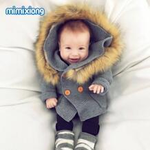 Зимние теплые новорожденных Детский свитер Мех животных капюшон Съемная серый детские Обувь для мальчиков для девочек Вязаный Кардиган Осенняя верхняя одежда трикотажная одежда для детей 0-24 м mimixiong 32840866735